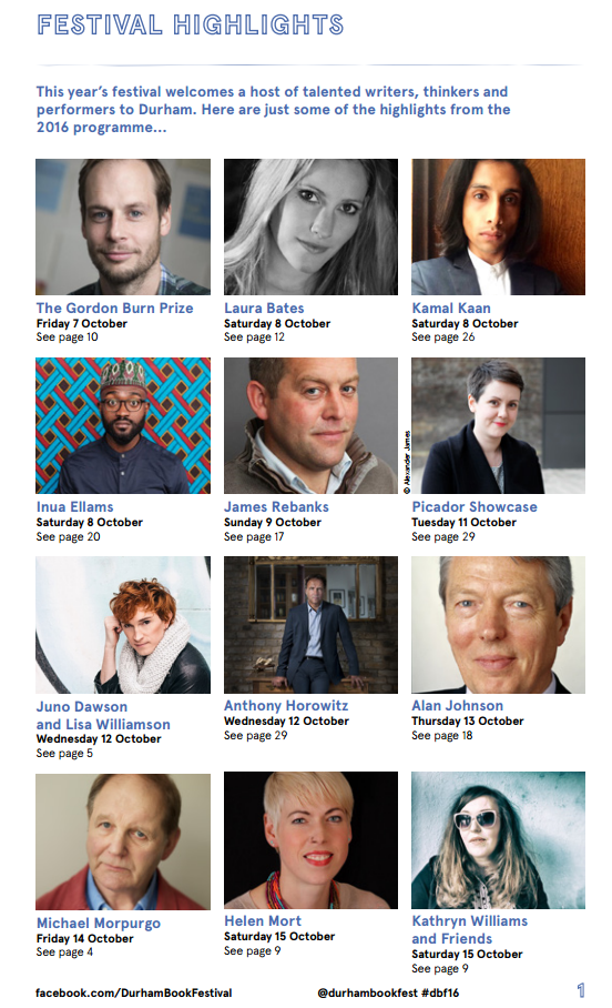 Durham Book Festival 2016 Programme - durhambookfestival.com