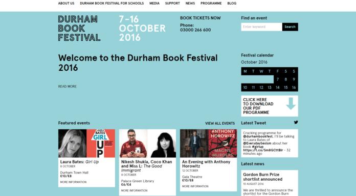 Durham Book Festival website - durhambookfestival.com