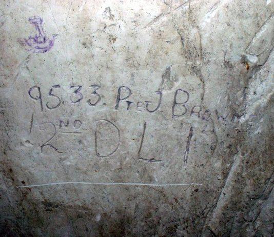 Historians Trace WWI Tunnel Graffiti Soldiers