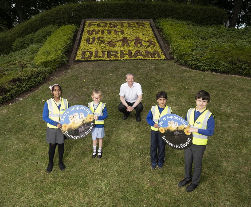 Flower Bed Display Promoting The Urgent Need For More Foster Carers Across The County